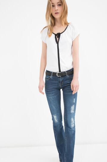 100% cotton T-shirt with laces, White, hi-res