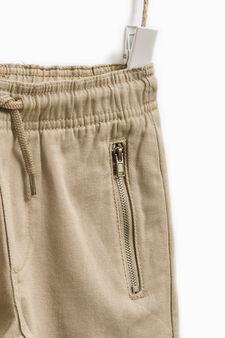 Pantaloni puro cotone tinta unita, Beige, hi-res