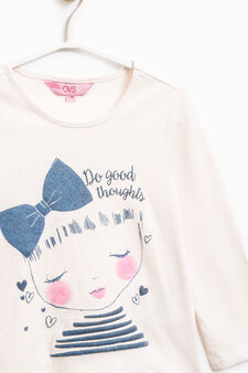 Cotton T-shirt with glitter print, White, hi-res