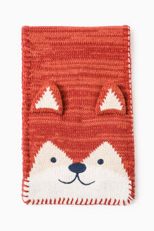 Knitted scarf with embroidered patch, Orange, hi-res