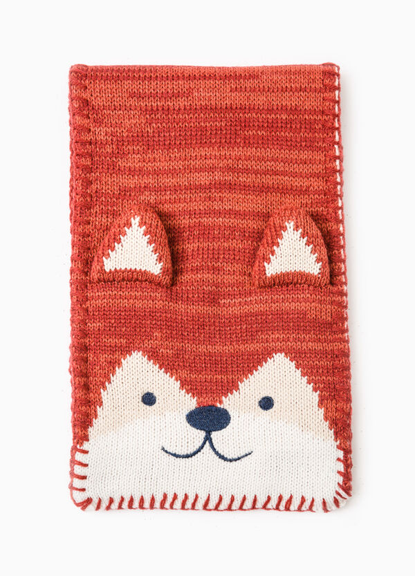 Knitted scarf with embroidered patch | OVS
