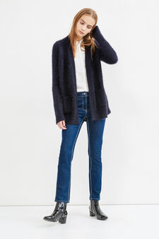 Cardigan with buttonless opening, Navy Blue, hi-res