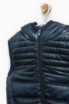 Padded waistcoat with ribbing, Blue, hi-res