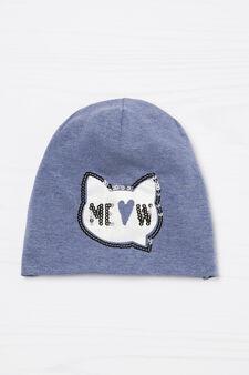 Beanie cat with sequinned cat, Denim Blue, hi-res