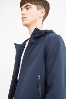 Stretch jacket with hood, Blue, hi-res