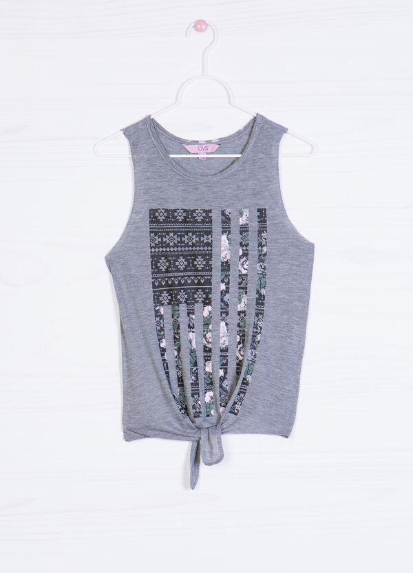 Printed cotton blend top | OVS