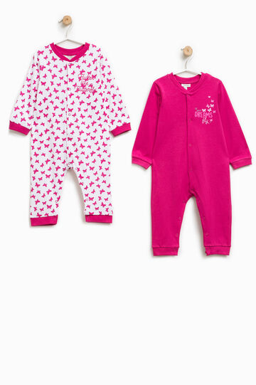 Pack de dos peleles de pijama en color liso y con mariposas, Blanco/Rosa, hi-res