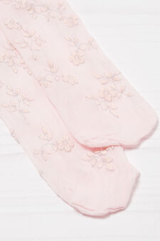 Tights with flower print, Pink, hi-res