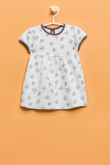 Dress with puff sleeves in 100% cotton, Grey, hi-res
