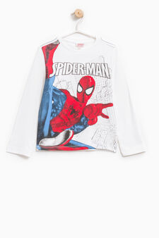 Spiderman print cotton T-shirt, Off-white, hi-res