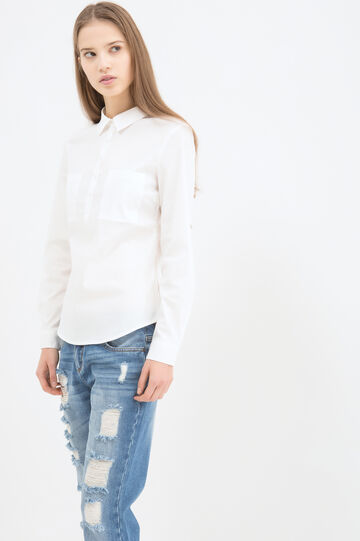 Solid colour stretch shirt., White, hi-res