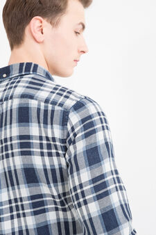 Checked cotton shirt, Blue, hi-res