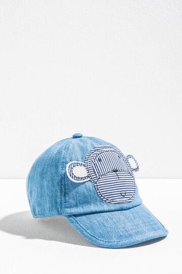 Baseball cap with monkey patch, Denim, hi-res