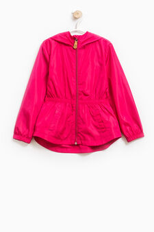 Cotton windbreaker with hood, Cherry Red, hi-res