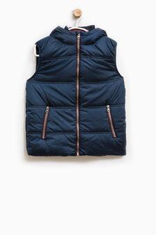 Padded waistcoat with internal collar, Dark Blue, hi-res