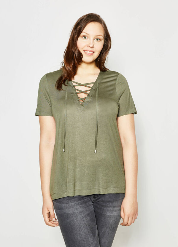 Curvy T-shirt with laces | OVS