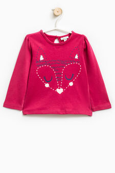 T-shirt with glitter print, Cherry Red, hi-res
