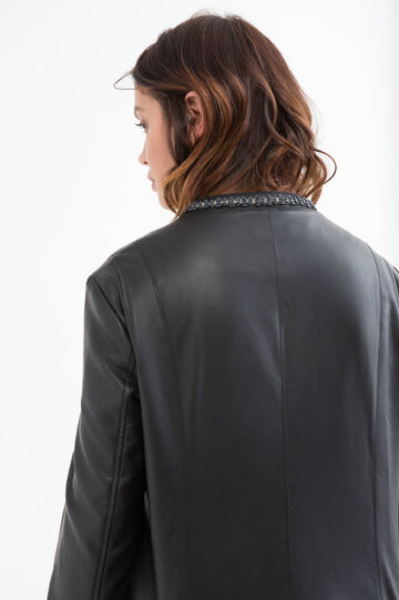 Curvy leather look jacket with applied diamantés, Black, hi-res