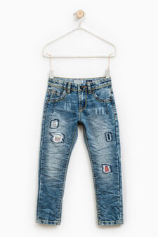 Straight-fit ripped jeans, Denim Blue, hi-res