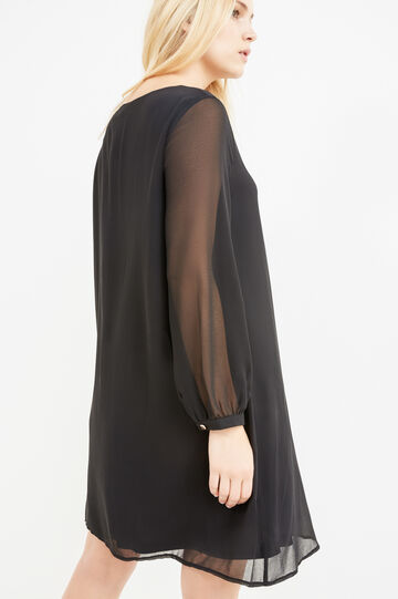 Curvy solid colour dress with long sleeves, Black, hi-res