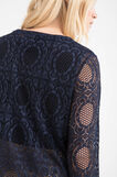 Long-sleeved Curvy T-shirt with openwork, Navy Blue, hi-res