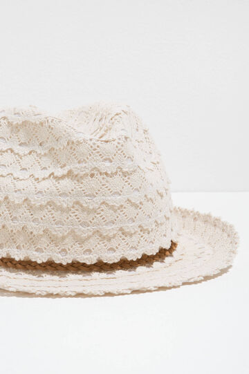 Cotton lace hat with wide brim