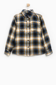 Check shirt in 100% cotton, Yellow, hi-res