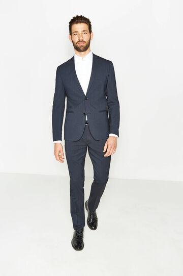 Custom-fit suit in micro-striped viscose, Blue, hi-res
