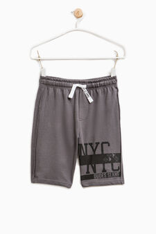 Printed Bermuda shorts in 100% cotton, Slate Grey, hi-res