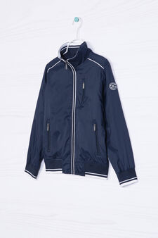 Windbreaker with high neck., Navy Blue, hi-res
