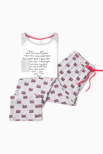 Patterned pyjamas with contrasting sleeves, White/Grey, hi-res