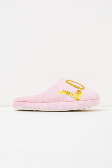 Solid colour print slippers, Light Pink, hi-res