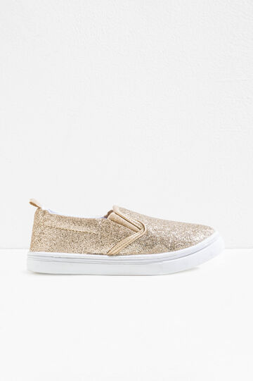 Glitter slip-ons with elasticated bands, Golden Yellow, hi-res