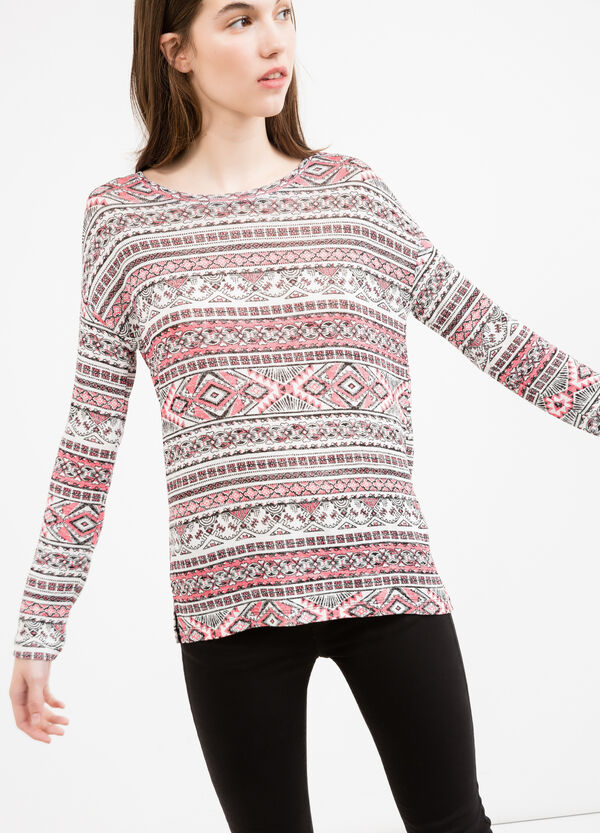 Stretch viscose T-shirt with long sleeves | OVS