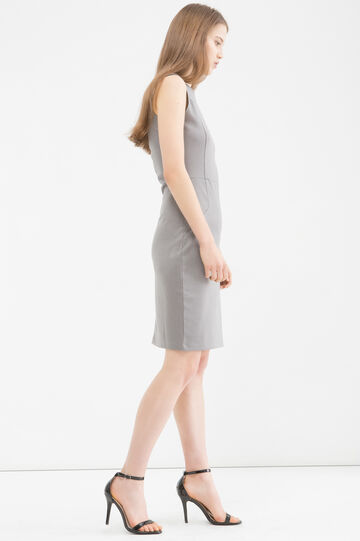 Stretch pencil dress with pattern, Grey, hi-res