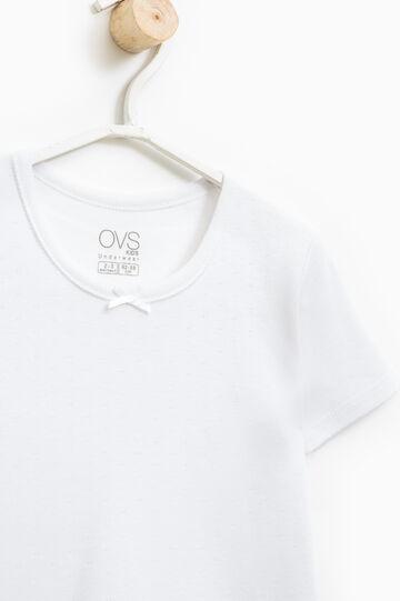 T-shirt intima puro cotone fiocchetto, Bianco, hi-res