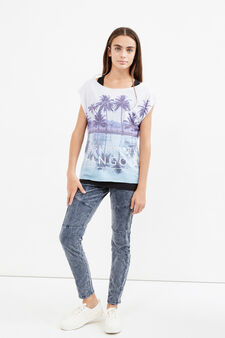 Teen T-shirt with internal top, Black/White, hi-res