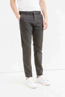 Regular-fit stretch cotton chino trousers, Slate Grey, hi-res