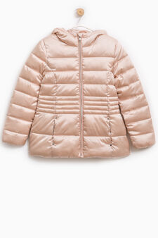Solid colour quilted down jacket with zip, Baby Pink, hi-res