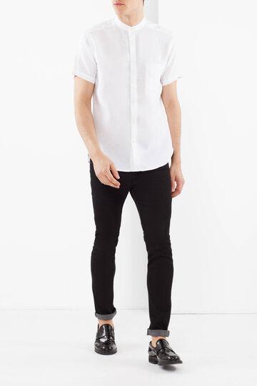 Camicia lino con colletto coreano, Bianco, hi-res