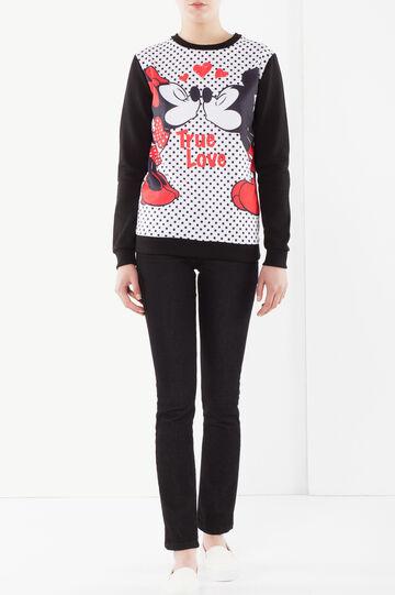 Polka dot sweatshirt with a cartoon print, Black/White, hi-res
