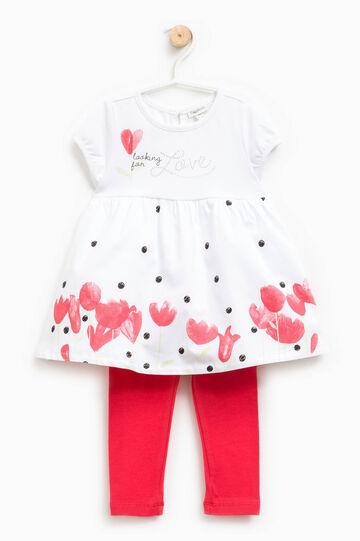 Completo vestitino e leggings, Bianco/Rosso, hi-res