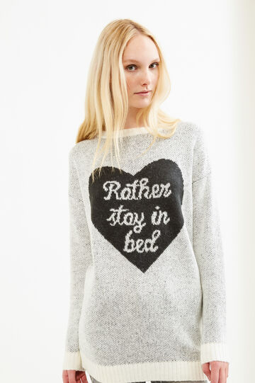 Solid colour pullover with embroidery, White/Black, hi-res