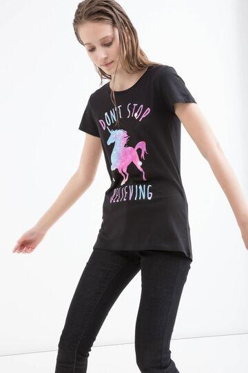 Unicorn print cotton T-shirt, Black, hi-res