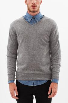 Wool-cashmere blend pullover., Light Grey, hi-res