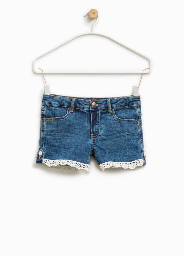 Shorts di jeans stretch con pizzo | OVS