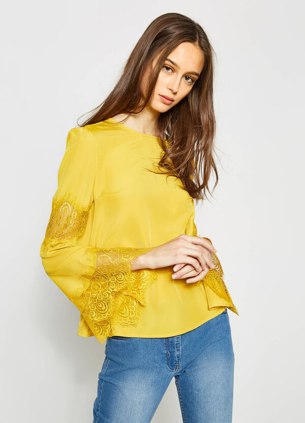 Solid colour blouse with lace | OVS