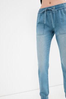 Jogging jeans with drawstring, Medium Wash, hi-res