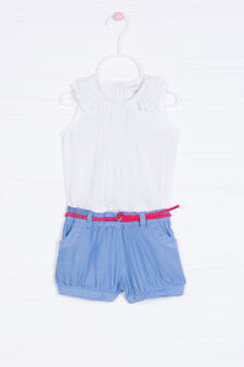 100% cotton playsuit with belt, White/Blue, hi-res