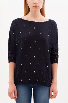 Floral pullover with boat neck, Blue, hi-res